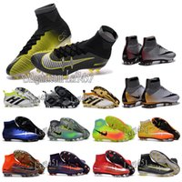 Wholesale Children Mens high ankle football boots CR7 Mercurial Superfly V soccer shoes Magista II FG AG cleats kids Youth boys ACE Purecontrol