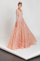 Wholesale Tony Ward Beaded Applique Evening Dresses Long Sleeve Party Dress Plus Size Prom A Line Gowns