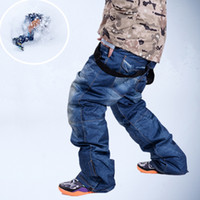 Wholesale High Quality Winter Ski Pants Men Denim Windproof Suspenders Thermal Skiing and Snowboarding Trousers MD0256