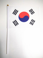 banner poles - Hand wave country banners South Korean small National flags polyester materials with pole cm