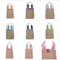 Wholesale DHL Free Newest Colors Fine Design Easter Bunny Ears Handbag Jute Cloth Material Easter Gift Packing For Child Fine Festival Gift