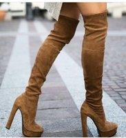achat en gros de longue en cuir femmes boot-Kardashian talon plateforme de la femme sur le genou stretch bottes bout rond 15cm talon en cuir véritable suède slim bottes long size35-42