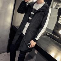 Wholesale Winter new men s long paragraph jacket multi color hooded jacket men s fashion casual men s windbreaker