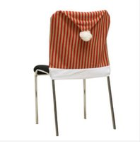 Wholesale x50cm Christmas Vertical Stripes Chair Seat Cover Hotel Dining Room Wedding Kitchen Decor Your Best Choice
