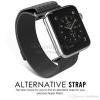 Alta calidad 38mm 42mm pulsera de enlace para Apple Watch Band Milanesa Loop 38mm de acero inoxidable Correa tejida con adaptador de metal Rosa Oro Plata
