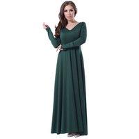 Wholesale 2016 Hot Style Army Green Vintage Dresses Autumn V Neck Ribbon Peplum