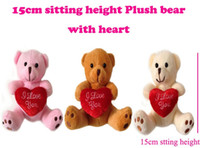 Wholesale 15cm quot INS Xmas Miniature Tiny Small Plush Teddy Christmas Bear Love With Heart on Foot Christmas Doll Gift Baby Shower