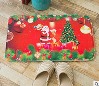 Wholesale Thick flannel Christmas decoration floor mats Kitchen bathroom mat Water absorption of non slip mats