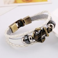 Wholesale New Hot Fashion Personalized Multilayer Leather Men Weave Bracelet Boat Anchor Alloy Handmade Charm Bangle Jewelry Mix Colors