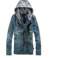 big denim jacket - Big Size tops cotton Sport Men s Hoodie Jeans Jacket outerwear hooded Winter coat denim jacket coat