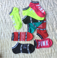 Wholesale Pink Letter Socks VS Pink Ankle Sock Pink Sports Sock Brand Cotton Hosiery Girls Fashion Sexy VS Ship Sock Campus Party Socks B1948