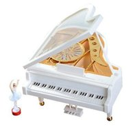 Wholesale 2017 New White Gold Piano Music Box Classical Day Gift Boutique with Dancing Girl Song to Alice Mechanical Dancing Ballerina