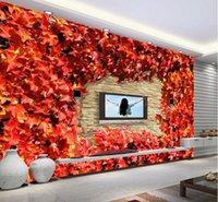Мода старинные кирпичные стены кленовый лист 3d большой настенной росписи обоев гостиной спальня обои картины телевизор фоне стены три DIMEN