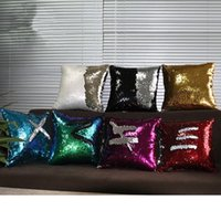 Wholesale Christmas cm Mermaid Sequine Cushion Cover Reversible Cushion Pillowcase Magical Color Changing Throw Pillow Cover for Home Sofa Decor