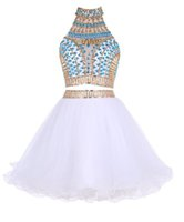 Wholesale 2017 In Stock Two Pieces Short Homecoming Dresses with High Neck Beads Rhinestones Tulle Graduation Dresses Mini Prom Gowns Real Pictures