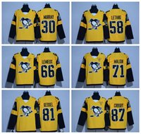 Wholesale 2017 Stadium Series Pittsburgh Penguins Sidney Crosby Yellow Hockey Jersey Kessel Malkin Letang Murray Players Available