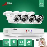 al por mayor sistemas de cámaras de seguridad hogar al aire libre-ANRAN Vigilancia HDMI 4CH AHD 1080N DVR HD Día Noche 1800TVL 24IR impermeable al aire libre cámara CCTV Inicio Sistemas de Seguridad