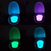 Wholesale 8 Colors LED Toilet Night Lights UV Motion Activated Light PIR Sensor Light Battery operated Lamp