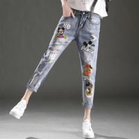 Wholesale Ripped Jeans Girls Ms Trousers Denim Pants Female Spring Clothing Cartoon Pattern Harem Pants New Fashion