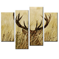 Wholesale LK408 Panel Deer of Animals Oil Paintings On Canvas Wall Art For Bedroom Handpainted Oil Painting FramedReady To Hang Unframed x47Inches