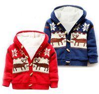 Wholesale Unisex Baby Button up Cotton Coat Deer Christmas Cardigan Sweater Kids Boys Sweater Baby Cardigan Girls Sweaters Hoodie colors LA322