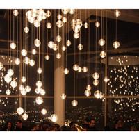 Wholesale G4 LED Crystal Glass Ball Pendant Lamps Meteor Rain Ceiling Lights Meteoric Shower Stair Droplight Chandeliers Lighting AC110V V