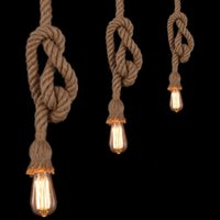 Wholesale Vintage Rope Pendant Light Lamp Loft Creative Personality Industrial Lamp Edison Bulb American Style For Living Room
