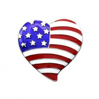 american flag moon - Enamel Heart Shape USA Flag Brooch PIN for July th