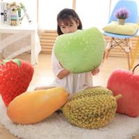 apples pillows - D Simulation Fruits Plush Pillow Strawberry Mango Durian Apple Pillow Chair Seat Sofa Staffed Cushions Creative Birthday Gift