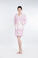 bath sleeve - White Red Spots Bathrobe Women Pajamas Hotel SPA Plus Robes Pajamas for Women Super Soft Coral Fleece Coral Cashmere Sleepwear Bath Towels