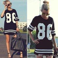 Grossiste-86 nouvelles 2015 femmes d'été de célébrité surdimensionné à manches courtes à manches courtes T-shirt américaine de baseball étoiles mannequins t shirt robe