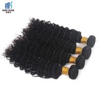 achat en gros de 14 pouces de tissages droites-4 Bundles Cheveux vierges brésiliens Deep Wave Boucles d'oreilles ondulées recourbées Formes de tissus bon marché à cheveux humains Cheveux de 8 à 28 pouces Cheveux Mode Style