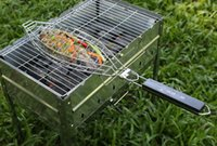 bbq fish basket - 1 pc High Quality Durable One Fish Grilling Basket with Black Wood Handle Fish Grill Rack BBQ Grill Basket for Single Fish
