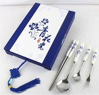 Wholesale Chinese style Premium Stainless Steel Blue and White porcelain chopstick sets