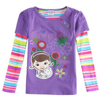 Wholesale Christmas New Year s DaGirls sweater Button Cartoon characters Fringe pattern Flower design novatx printing Brand sales Splice sleeve Violet