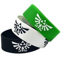 achat en gros de bracelets bon marché de gros-Vente en gros 50PCS / Lot La légende de Zelda Silicon Wristband 1''Wide bande Bulk Cheap Bracelet Adult Taille 3Colours