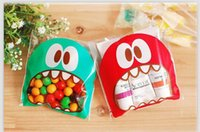 Wholesale 100pcs cm OPP Cute small Monster Sharp teeth Baking Christmas Gift Packaging Bags Wedding Cookie Candy Plastic bag