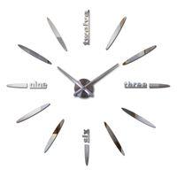 Wholesale hot sale wall clock acrylic mirror diy clocks bedroom wall clock quartz watch d modern design wall stickers