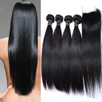 Wholesale Brazilian Straight Human Hair Bundles With Lace Closure inches Lace Closure With Bundles Natural Black Straight Brazilian Virgin Hair W
