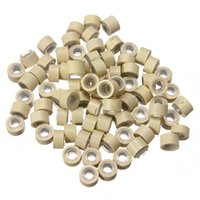 Wholesale Silicone Lined Micro Rings Beads Loops Tip Hair Clips Hair Extensions mm Beige Color