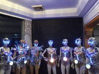 ballroom masks - Newest Led Luminous Ballroom Costume With Mask With Motohead Light LED DJ Nightclub Event Party Dance Wear Clothes