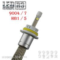 achat en gros de 24v caché des kits de conversion-1 Set R3 9004 HB1 / 9007 HB5 80W 9600lm CREE LED Phare XHP-50 CHIPS Camion Auto 12 / 24V Xenon Blanc 6K Kit de conversion Remplacer Halo Haloen