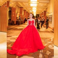 Wholesale Middle East Red Evening Dresses Sheer Bodice with Sexy Back and Long Sleeves Organza Court Train Evening Gowns