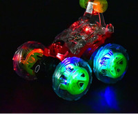 Wholesale Double Sided Truck Somersault Stunt Children s Toy Electric Toy Car Dump With Led Light YH702