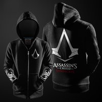 Assasins creed Prix-Grossiste-2016 Automne Hiver Assieds Hoodie Creed Hommes Noir Cosplay Sweatshirt Costume Fleece Lined Assassins Creed Hommes Hoodies Vestes