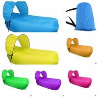 Wholesale Inflatable Lounger With Sunshade Portable Waterproof Fast Inflatable Air Bag Beach Flatfish Sleeping Bed Air Sofa for Camping CCA5700