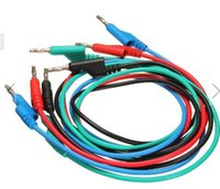 Wholesale 4pcs M mm Banana to Banana Plug Soft Silicone Test Cable Lead for Multimeter Colors