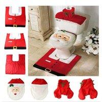 bathroom tissue sale - 3pcs set Hot Sale Santa Claus Bathroom Toilet Cover Warmer Washable Rug MATS Tank Cover Tissue Boxes Christmas Decorations