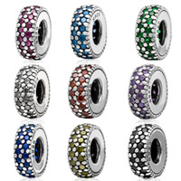 Wholesale New Real Sterling Silver Bead Micro Pave Color Crystal Zircon Charm Beads Fit for Pandora Bracelet Necklace Bangle Jewelry