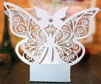 Wholesale New Personalize Elegant D Butterflies Wedding Party Favor Purple Paper Gorgeous Candy boxes Organza Ribbons Gifts Bags Pink CB14
